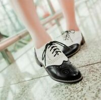 New Vintage Womens Wingtip Brogues Lace Up Preppy Girls Low Heels Oxford Shoes