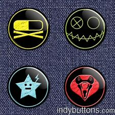 "4-Piece MCR Killjoys (My Chemical Romance) 1"" Pinback Buttons / Pins / Badge Set"
