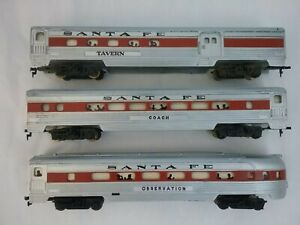 HO Tyco Vintage Santa Fe Ribbed Passenger Cars Lighted Interior (Set of 3)