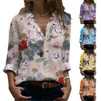 Fashion Women Long Sleeve Flower Print Blouse Casual Slim Shirts Lapel A6Q2