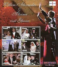 Ghana 2002 MNH Willem-Alexander & Maxima Dutch Royal Visit 6v M/S Royalty Stamps