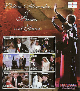 Ghana Royalty Stamps 2002 MNH Willem-Alexander & Maxima Dutch Royal Visit 6v M/S