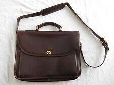 Vintage Aston Dark Brown Leather Messenger Bag Briefcase Made in USA