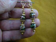 Cloisonne 2 bead dangle Earrings jewelry (ee612-13) 10mm Black pink blue flower