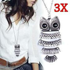 3x Fashion Women Vintage Style Bronze Owl Long Chain Jewelry Necklace Pendant GV