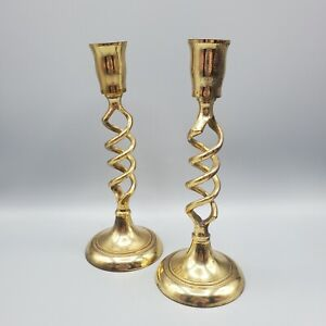 """2 Brass Open Barley Twist Candle Holders Candlesticks Spiral Made in India 7.5"""""""