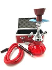 Hookah Single Hose Connection Glass Water Pipe Comes in Travel Case Choose Color