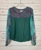 Umgee USA Boutique Women's S Small Turquoise Long Sleeve Cute Spring Top Blouse