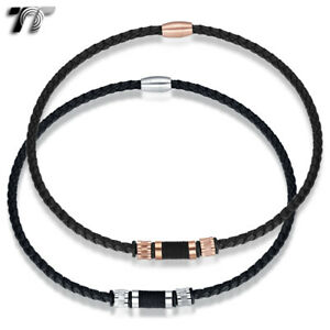 TT 6mm Black Leather S.Steel Bead Magnet Buckle Collar Necklace (CL23)2020 NEW