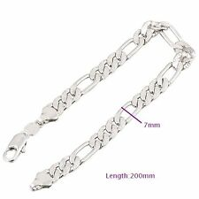 18K White Gold Solid Plated Fashion Curb Link Chain Bracelet For Men Women