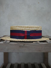 Guards Straw Boater by Olney Headwear - UK Made Skimmer – Red and Blue band