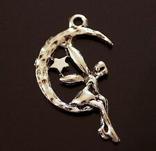 20x Tibetan Silver Fairy Angel and Moon Charm Pendant Christmas 25mm (TSC60)