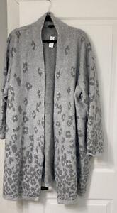 Nwt Talbots 3X Gray Print Ombre Animal Print Flyaway Cardigan Sweater