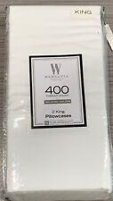 NEW Set of 2 White 100% Cotton Sateen 400 Thread Count Wamsutta KING Pillowcases