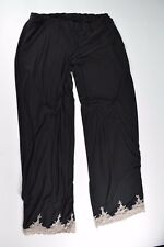 Soma Intimates Black Pink Lace Cropped Sleep Pants Super Soft Stretch Pockets M