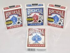 4 Decks Bicycle JUMBO 808 Rider Back Playing Cards One Blue, Three Red USA Made