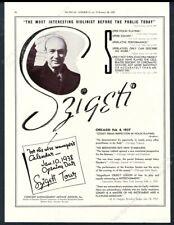 1937 Joseph Szigeti photo violin recital tour booking trade print ad