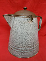 Huge Vintage Graniteware Enamelware Coffee Pot Double Handle Cowboy Campfire