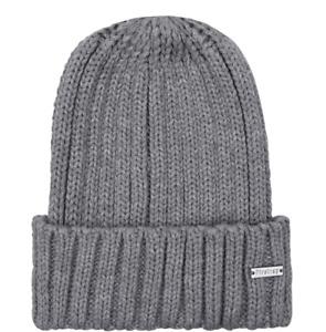 Mens Firetrap Winter Warm Wooly Knit Beanie Ski Hat - Grey