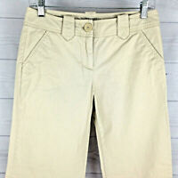 New York & Co Manhattan Womens Size 2 Stretch Solid Beige Wide Flap Chino Pants