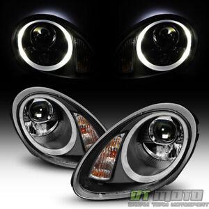 Black 2005-2008 Porsche Boxster 987 Cayman Halogen LED Tube Projector Headlights