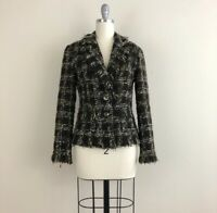 Avenue Montaigne Paris Fringe Tweed Fitted Lined Blazer Women's Size 2
