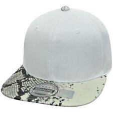 White Solid Plain Blank Snake Skin Faux Pleather Snapback Flat Bill Hat Cap