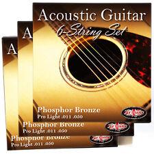 3x PACKS - Adagio Pro ACOUSTIC GUITAR Strings 11-50 Phosphor Bronze Light Steel
