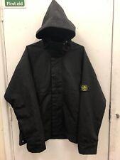 Mens Stone Island Black Hooded Jacket Coat Size XL 100% Authentic
