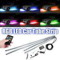 4PCS LED RGB Neon Strip Light Under Car Tube Underglow Underbody Glow IR control