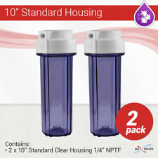 """2 x 10"""" Reverse Osmosis water filter Clear housing 1/4"""" NPT with double O ring"""
