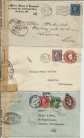 Three Washington-Franklin World War One small censored covers to Switzerland