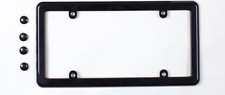 UNIVERSAL BLACK LICENSE PLATE TAG COVER HOLDER FRAME + 4 SCREW CAPS Brand New
