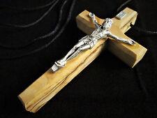 "Handmade Palestine Bethlehem Pewter Olive Wood 3"" Crucifix Cross Cord Necklace"