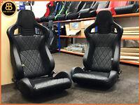 BB6 Reclining Titling Bucket Sports Racing Seats Diamond Stitched / Alcantara