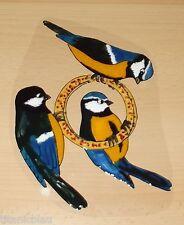 Elas Fensterbilder ! 3 Blaumeisen Vögel an einem Futterring *