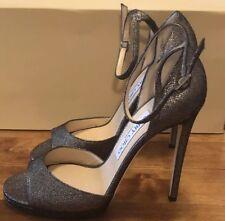ac4801cab93 Jimmy Choo Black   Silver Glitter Lamé Fabric Peep-Toe Sandal UK 5 - Eu