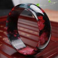 54-62mm Natural Beautiful Peach Blossom Jade Bangle Women Charm Bracelet Jewelry