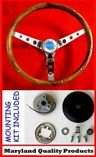 C10 C20 C30 Chevy Blazer Pick Up Grant Wood Steering Wheel Blue Cap 13 1/2""