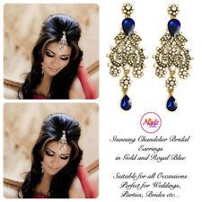 INDIAN Bollywood Oro Cristallo Goccia Dangle Orecchini Lampadario da Sposa Oro Blu R