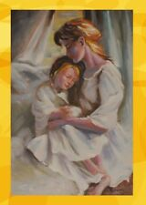 Painting Canvas Mother + Child White Alu Frame Elegant Wall Deco Art Painting