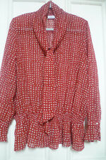 GELCO Size 18 Red Dot Blouse Shirt Top Pussy Bow Tie Neck Peplum