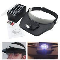 Profi LED Stirnlupe Kopflupe Brillenlupe Kopfband Lupe Mit 4 Linsen Lupenbrille