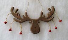 Wooden Reindeer Hanging Christmas Decoration Reindeer Head with Bells Wall Door
