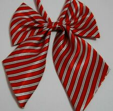 Adjustable pretied bow tie silk satin cravat stripes women ladies red white T19