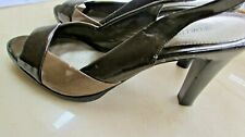 Women's WORTHINGTON 2 tone Brown Open Toe Strappy dress shoes Heels Sz 9M