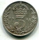 1911 Solid Sterling Silver Threepence George V UK Great Britain C079