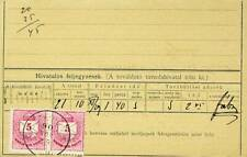 HUNGARY 5k ST. STEPHEN'S CROWN PAIR ON RECEIPT CARD TO BUDAPEST