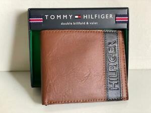 TOMMY HILFIGER TAN BROWN BLACK GENUINE LEATHER DOUBLE BILLFOLD VALET WALLET $48