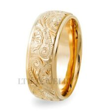 HAND ENGRAVED MENS WEDDING BANDS,14K YELLOW GOLD HAND ENGRAVED MENS WEDDING RING